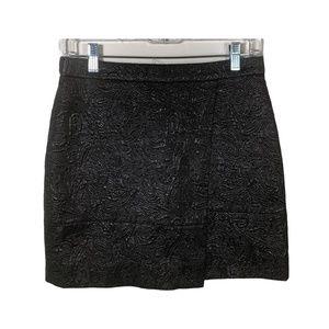 J Crew Womens Skirt A Line Black Metallic Textured